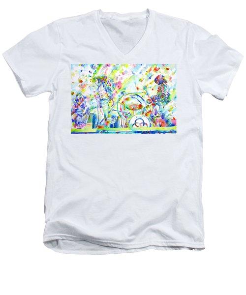 Led Zeppelin Live Concert - Watercolor Painting Men's V-Neck T-Shirt by Fabrizio Cassetta