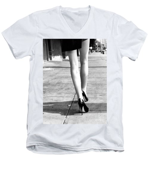 Men's V-Neck T-Shirt featuring the photograph Legs New York by Rebecca Harman