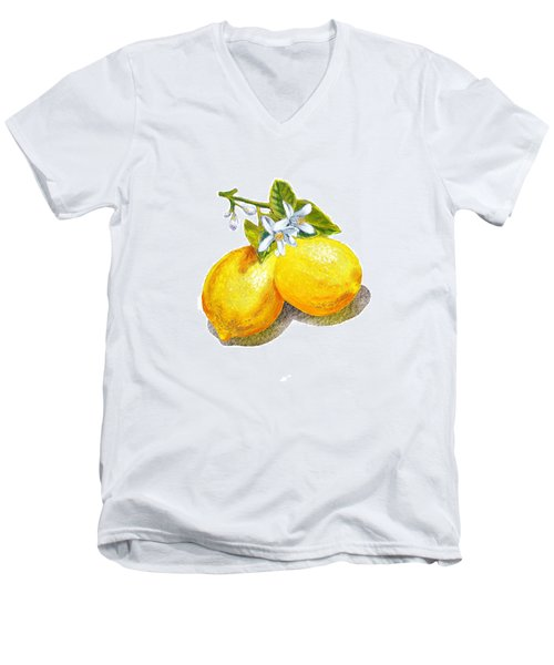 Lemons And Blossoms Men's V-Neck T-Shirt by Irina Sztukowski