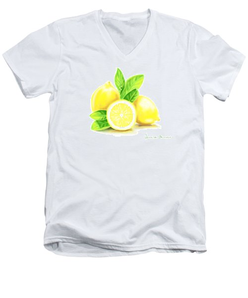 Lemons Men's V-Neck T-Shirt by Veronica Minozzi