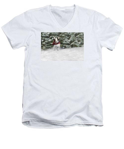 Snow Day Men's V-Neck T-Shirt by Shelley Neff