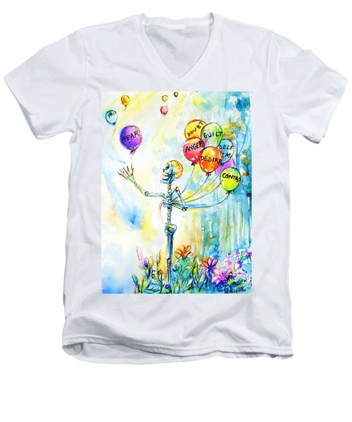 Men's V-Neck T-Shirt featuring the painting Letting Go by Heather Calderon