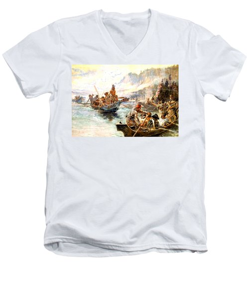 Lewis And Clark On The Lower Columbia  Men's V-Neck T-Shirt