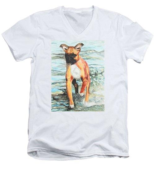 Leyla Men's V-Neck T-Shirt by Jeanne Fischer