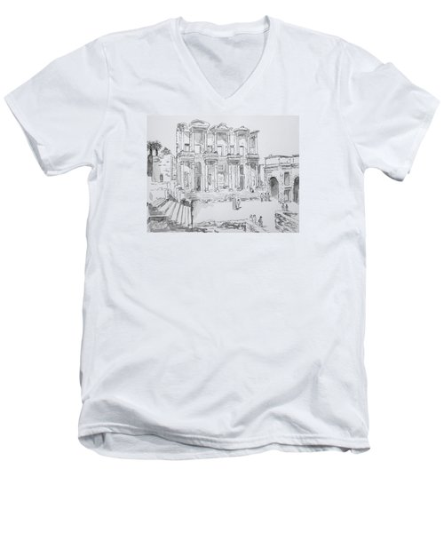 Men's V-Neck T-Shirt featuring the painting Library At Ephesus by Marilyn Zalatan