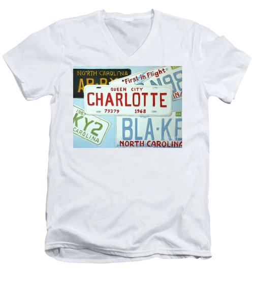 License Plates Men's V-Neck T-Shirt by Stacy C Bottoms