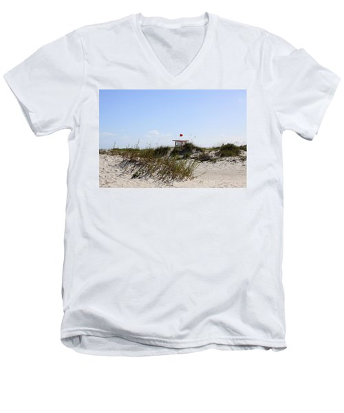 Men's V-Neck T-Shirt featuring the photograph Lifeguard Station by Chris Thomas