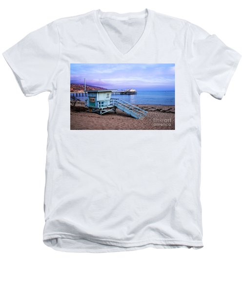 Lifeguard Tower And Malibu Beach Pier Seascape Fine Art Photograph Print Men's V-Neck T-Shirt by Jerry Cowart