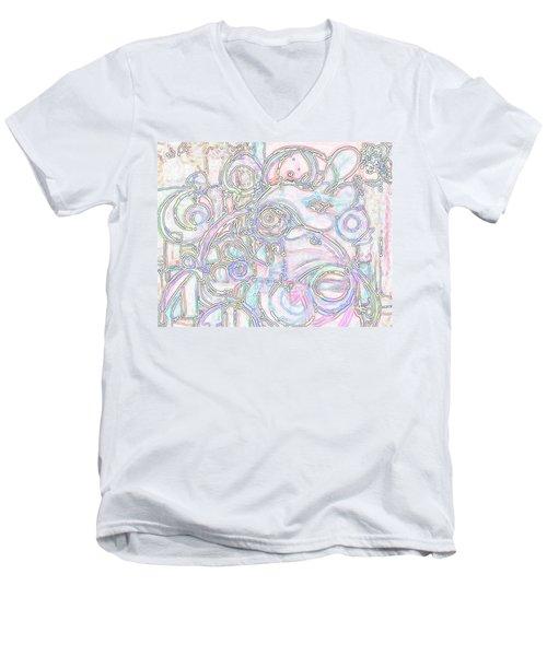 Light Circular Chicken Men's V-Neck T-Shirt