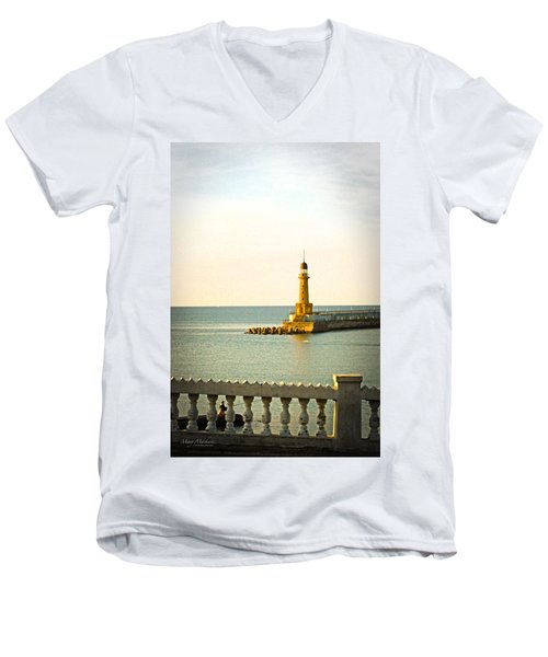 Lighthouse - Alexandria Egypt Men's V-Neck T-Shirt by Mary Machare