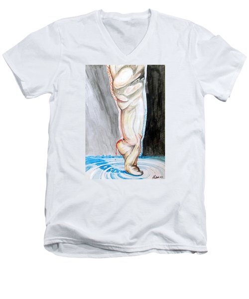 Men's V-Neck T-Shirt featuring the painting Lightweight Of The Being Listen With Music Of The Description Box by Lazaro Hurtado