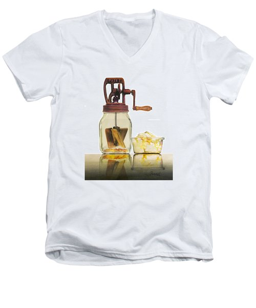 Men's V-Neck T-Shirt featuring the painting Like Buttah by Ferrel Cordle