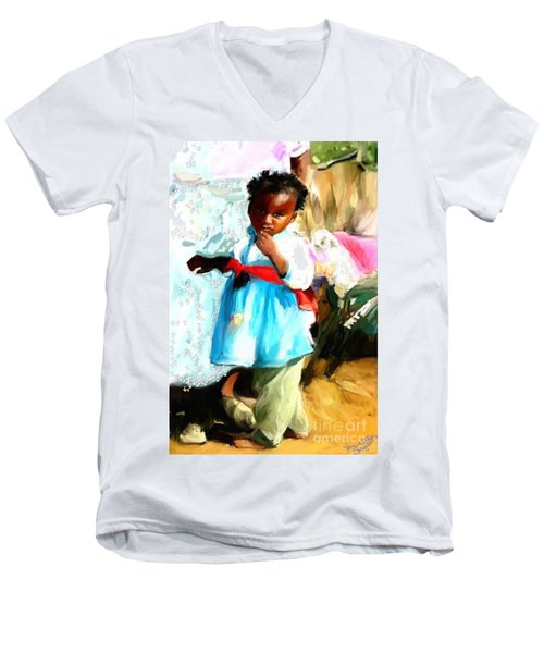 Men's V-Neck T-Shirt featuring the painting Lil Girl  by Vannetta Ferguson
