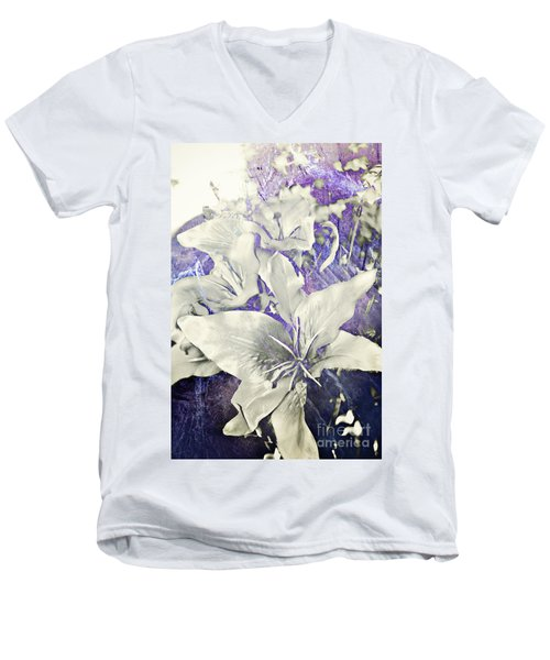 Men's V-Neck T-Shirt featuring the photograph Lilies And Denim by Janie Johnson