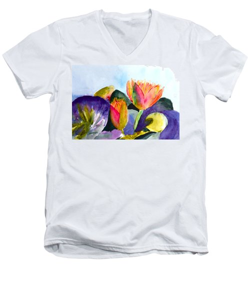 Lilies Of The Water Men's V-Neck T-Shirt by Beverley Harper Tinsley