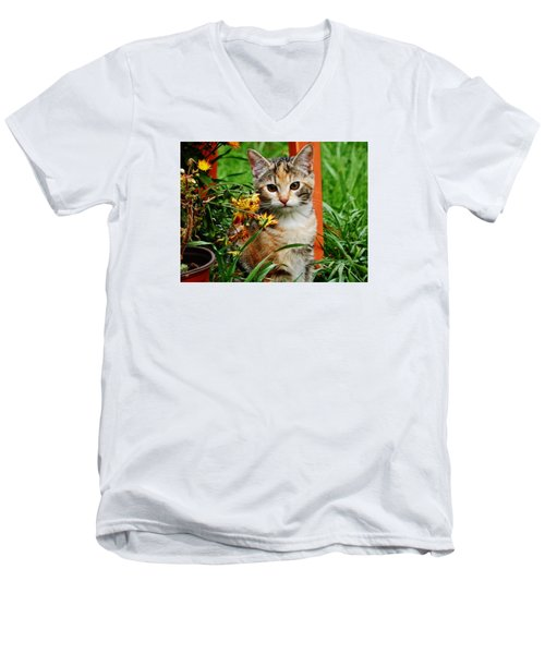 Men's V-Neck T-Shirt featuring the photograph Lily Garden Cat by VLee Watson