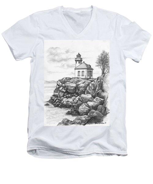 Lime Kiln Lighthouse Men's V-Neck T-Shirt