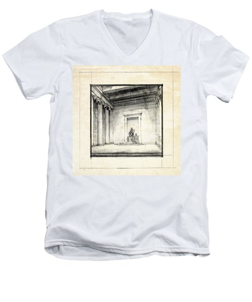 Lincoln Memorial Sketch IIi Men's V-Neck T-Shirt by Gary Bodnar