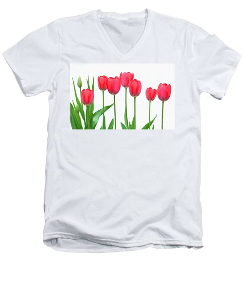 Line Of Tulips Men's V-Neck T-Shirt by Steve Augustin
