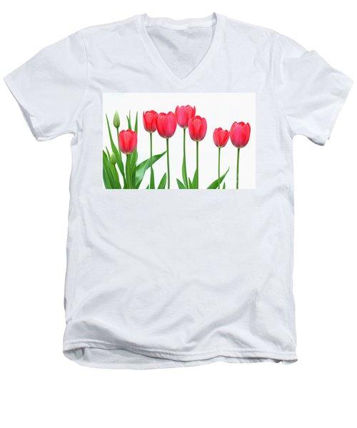 Line Of Tulips Men's V-Neck T-Shirt