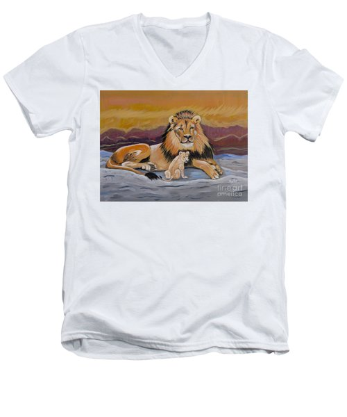 Men's V-Neck T-Shirt featuring the painting Lion And Cub by Phyllis Kaltenbach