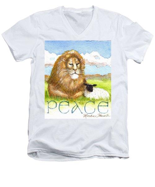 Lion And Lamb - Peace  Men's V-Neck T-Shirt