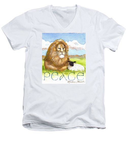 Lion And Lamb - Peace  Men's V-Neck T-Shirt