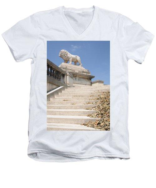 Lion Tuileries Garden Paris Men's V-Neck T-Shirt by Jeremy Voisey