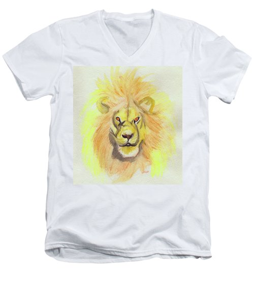 Lion Yellow Men's V-Neck T-Shirt