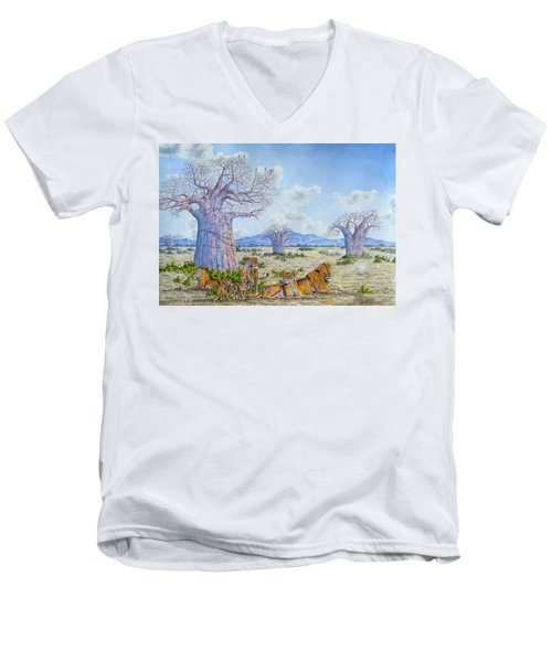 Lions By The Baobab Men's V-Neck T-Shirt