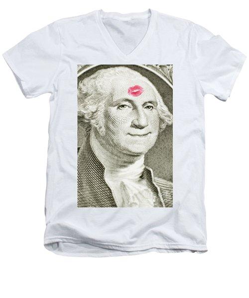 Lipstick Kiss On One Dollar Bill Men's V-Neck T-Shirt