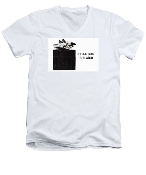Men's V-Neck T-Shirt featuring the photograph Black Present With A Silver Bow by Vizual Studio