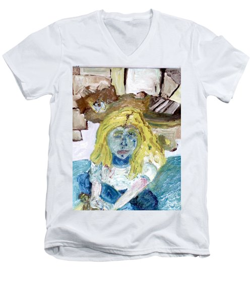 Little Girl Drawing Men's V-Neck T-Shirt