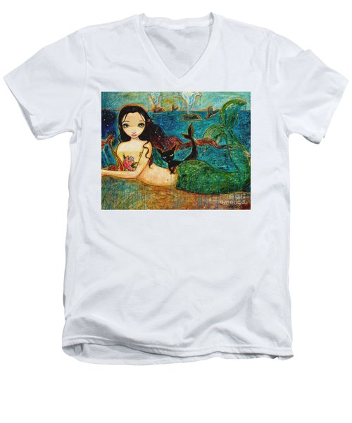 Little Mermaid Men's V-Neck T-Shirt by Shijun Munns