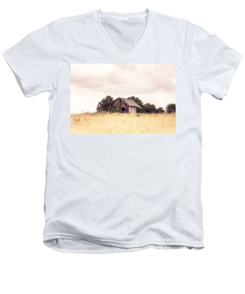Men's V-Neck T-Shirt featuring the photograph Little Old Barn In A Field - Landscape  by Gary Heller