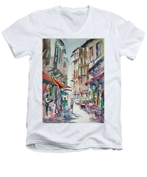 Men's V-Neck T-Shirt featuring the painting Little Trip At Exotic Streets In Istanbul by Faruk Koksal