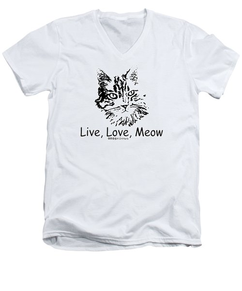 Live Love Meow Men's V-Neck T-Shirt
