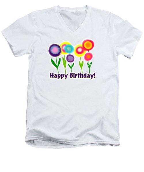 Men's V-Neck T-Shirt featuring the digital art Lollipop Flowers  by Christine Fournier