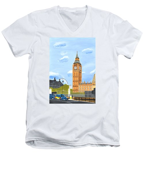 Men's V-Neck T-Shirt featuring the painting London England Big Ben  by Magdalena Frohnsdorff