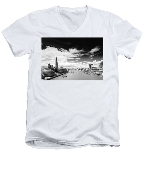 Men's V-Neck T-Shirt featuring the photograph London Panorama by Chevy Fleet