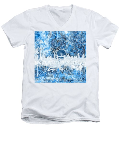 London Skyline Abstract 13 Men's V-Neck T-Shirt
