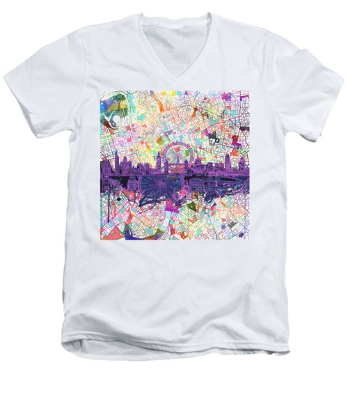 London Skyline Abstract Men's V-Neck T-Shirt