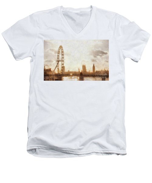 London Skyline At Dusk 01 Men's V-Neck T-Shirt