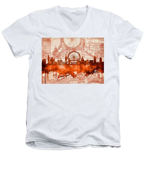 London Skyline Old Vintage 2 Men's V-Neck T-Shirt