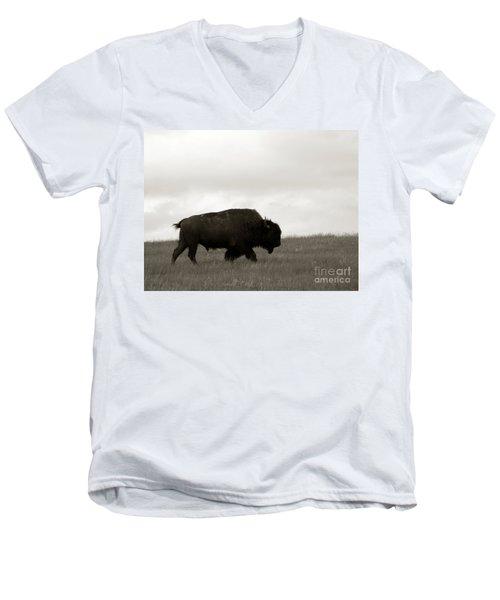 Lone Bison Men's V-Neck T-Shirt