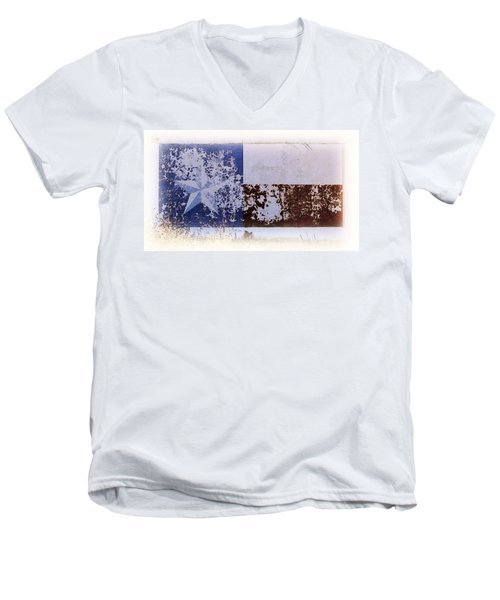 Men's V-Neck T-Shirt featuring the photograph Lone Star Flag Mural by Nadalyn Larsen
