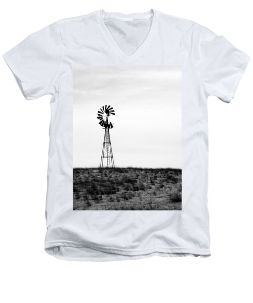 Men's V-Neck T-Shirt featuring the photograph Lone Windmill by Cathy Anderson
