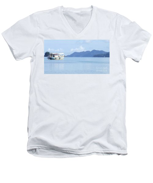 Men's V-Neck T-Shirt featuring the photograph Lonely Boat by Andrea Anderegg