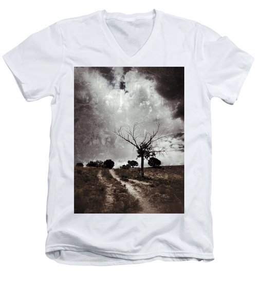 Lonely Tree Men's V-Neck T-Shirt by Mark David Gerson