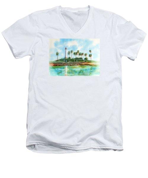 Long Beach Lighthouse  Version 2 Men's V-Neck T-Shirt by Debbie Lewis